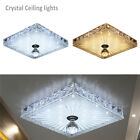 LED Crystal Square Mini Ceiling Light Flush Mount Stainless Steel Fixture Decor
