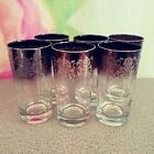 6 Silver Fade Lace Scroll Tumblers Highball Cocktail Glasses MCM Retro Barware