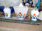 Vintage Fire King Tulip grease jar and range set white