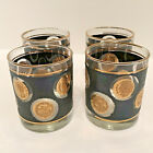 Vintage Libbey Black and Gold COIN GLASSES, SET OF 4, Whiskey - Cocktail