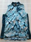 CANNONDALE SLEEVELESS CYCLING TOP 1 2 ZIP WOMENS MEDIUM BLUE FLORAL TS9