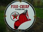 1951 TEXACO FIRE CHIEF GASOLINE PORCELAIN GAS OIL SIGN! PUMP PLATE