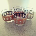 4 MCM Culver Pisa Gold Green Roly Poly Rocks Lowball Cocktail Glasses Whiskey