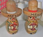 Vintage Wood Mexican Salt  Pepper ShakersHAND PAINTED SOMBREROS 4 HIGH