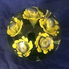 Vtg Bart Zimmerman Yellow Flowers Control Bubbles Art Glass Paperweight signed
