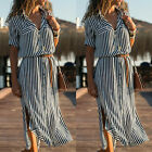 Women Long Sleeve Belted Stripe Button Dowm Maxi Dress Summer Casual Shirt Dress