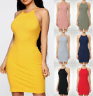 Bodycon High Neck Mini Dress Casual Cotton Stretch Knit Solids Basic Sleeveless