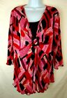 ESSENTIALS Pink Red Black Pullover Top with Decorative Buckle Size 1X