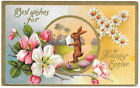 Conwell Happy Easter vintage postcard embossed rabbit bunny carries egg