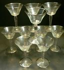Vintage Set of 10 Sterling Silver Ringed Overlay Champagne Glasses 6 x 375