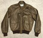 Vintage LL Bean 80s Mens A 2 Leather Bomber Flight Jacket 42 Brown USA