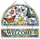 BUTTERFLIES WELCOME Sun Catcher Hanging Hand Painted AMIA Butterfly Rainbow New