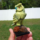 Green JADE OWL Carving Fetish Serpentine Crystal on Calcite with Turquoise Beak