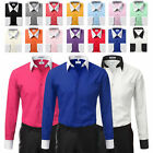 Berlioni Italy White Collar  Cuffs Mens Two Tone Dress Shirt All Colors  Sizes