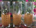 3 VINTAGE LIBBEY GLASSWARE TUMBLERS RAISED CANING CANED DESIGN