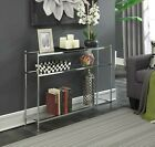 Modern Glass Shelf Console Sofa Table Accent Display Chrome 3 Tier Silver Entry