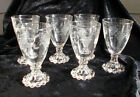 6 Four Oz Crystal Etched Boopie Glasses Wine Cordial Anchor Hocking Glass