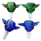New 14 18mm Green Blue Yoda Male Joint Bowl for Bongs Water Pipes Glass Hookah