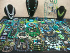 HUGE LOT OF VINTAGE NOW COSTUME JEWELRY BEAUTIFUL BLUES  GORGEOUS GREENS NICE
