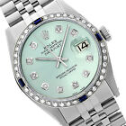 Mens Rolex Watch Datejust 16014 Stainless Steel Ice Blue 1.35ct Diamond Sapphire