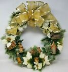 Nativity Wreath ELEGANT Christmas Gold Vintage Plastic Figures Hand Made 19