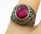 925 Sterling Silver Vintage Faceted Pink Topaz 1978 Class Ring Sz 6 R9413