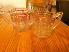 Vintage Large heavy glass optic block clear sugar bowl and creamer purple hue