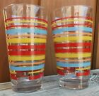 FIESTA Fiesta Ware • Set of 2 Striped Glasses • 16 oz Tumblers Scarlet Highball