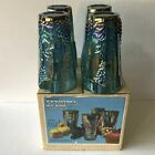 Indiana Carnival Glass Iridescent Harvest Grape Amethyst Blue 4 Tumblers Boxed
