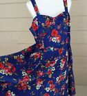 Hearts  Roses Summer Dress NWT Blue Floral Red Retro Swing Sundress Size 16