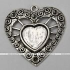 5x Tibetan Silver Hollow Heart Photo Picture Frame Charms Craft Pendant Findings