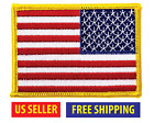 REVERSE AMERICAN FLAG EMBROIDERED PATCH iron on GOLD BORDER USA US United States