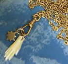 Repro Victorian charm necklace Star mother of pearl Hand chatelaine gold ooak