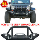 Textured Front Rear Bumper Winch Plate Led D-rings For 07-18 Jeep Wrangler Jk