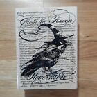 Edgar Allen Poe Inspired Raven and Background Wood Stamp