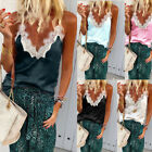 Women Vest Lace T Shirt Loose Casual Sleeveless Camisole V Neck Tank Tops Blouse