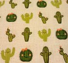 Cactus Flannel Fabric Cactus Smiling Friends Sewing Material Pink Hearts Whit