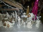 Vintage Nativity Set 11 Piece Ivory  Gold Porcelain