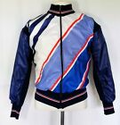 Vtg 70s Performance Italy Red White Blue Wool Blend Zip Cycling Jacket Coat 1 S