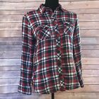 Beach Lunch Lounge Button Down Plaid Shirt Size Small Red White And Blue