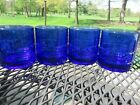 4 Anchor Hocking Cobalt Blue Tartan Plaid Double Old Fashioned Glass Tumblers