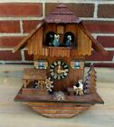 Musical Black Forest Animated Cuckoo Clock Water Wheel, Dancers, Man Tipping Ale