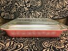 Vintage Pyrex Pink Daisy 1 1 4 quart square space saver dish with lid
