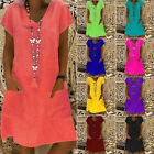 Womens Boho Summer Short Sleeve Long T-Shirt Casual Cotton Loose Dress Plus Size
