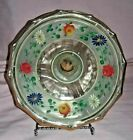 Vintage 3 Way Divided Glass Candy/Nut Dish Hand Painted Flowers on Lid