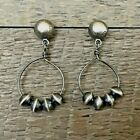 Native American Indian Jewelry Sterling Silver Circle Earrings Navajo