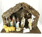 Vintage Christmas Nativity Set Fontanini Wood Creche Stable 9 Ceramic Figures