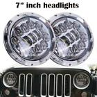 2X7inch Round LED Headlight DOT Halo Projector Hi Lo Beam For Jeep Wrangler JK
