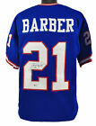 Giants Tiki Barber Authentic Signed Blue Jersey Autographed BAS Witnessed