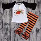 US Toddler Baby Girl Halloween Clothes Unicorn Tops T shirt+Leggings Outfit Set